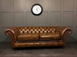 Authentic Hand Dyed Tan Leather London Chesterfield 3 Seat Sofa Angle 1