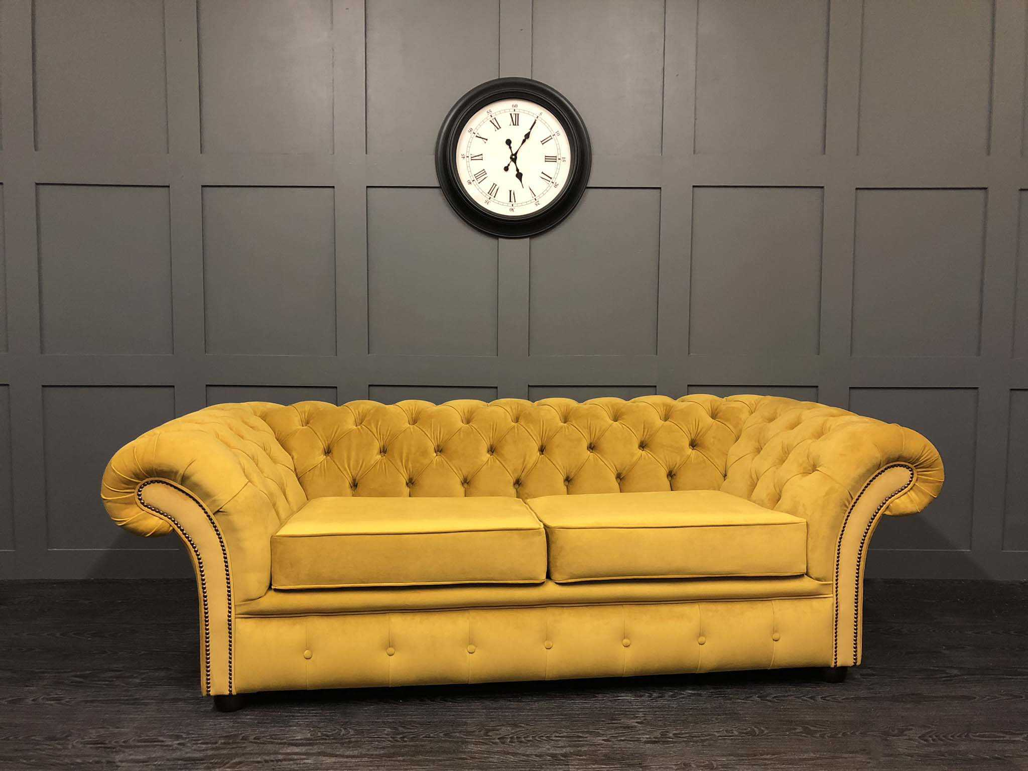 London Chesterfield Sofa Bed Warwick Turmeric Plush velvet