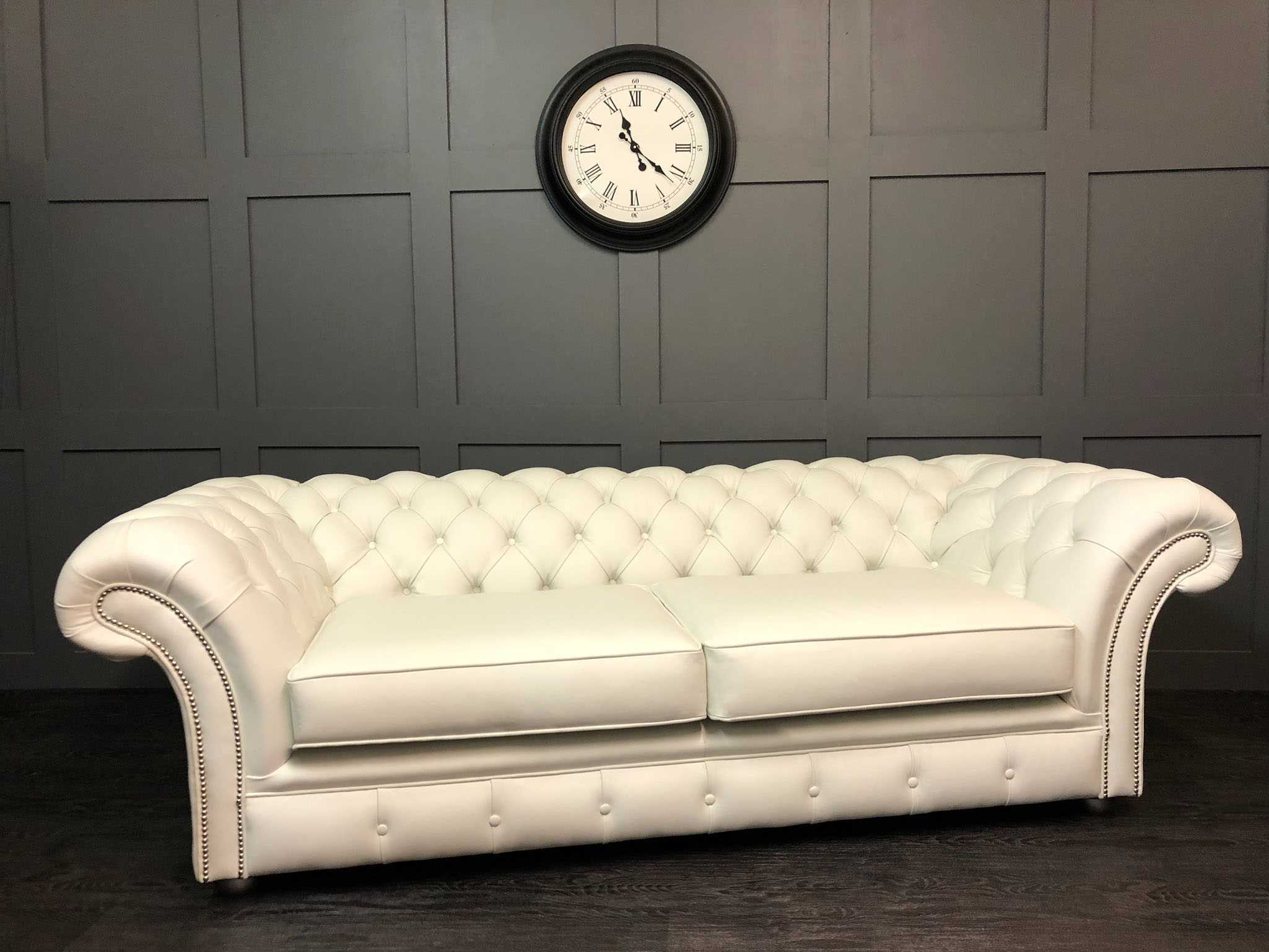 London chesterfield lena white leather