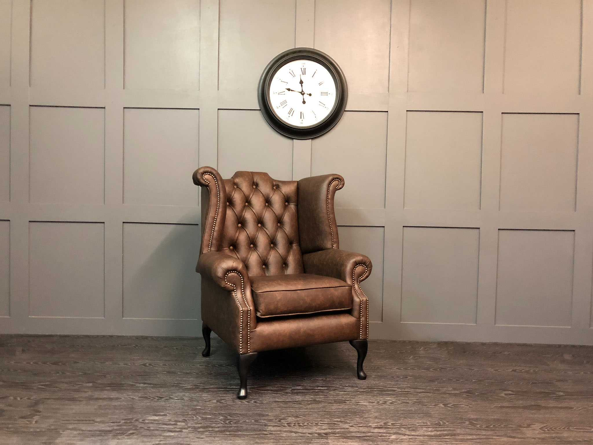Apache roast leather kent wing chair