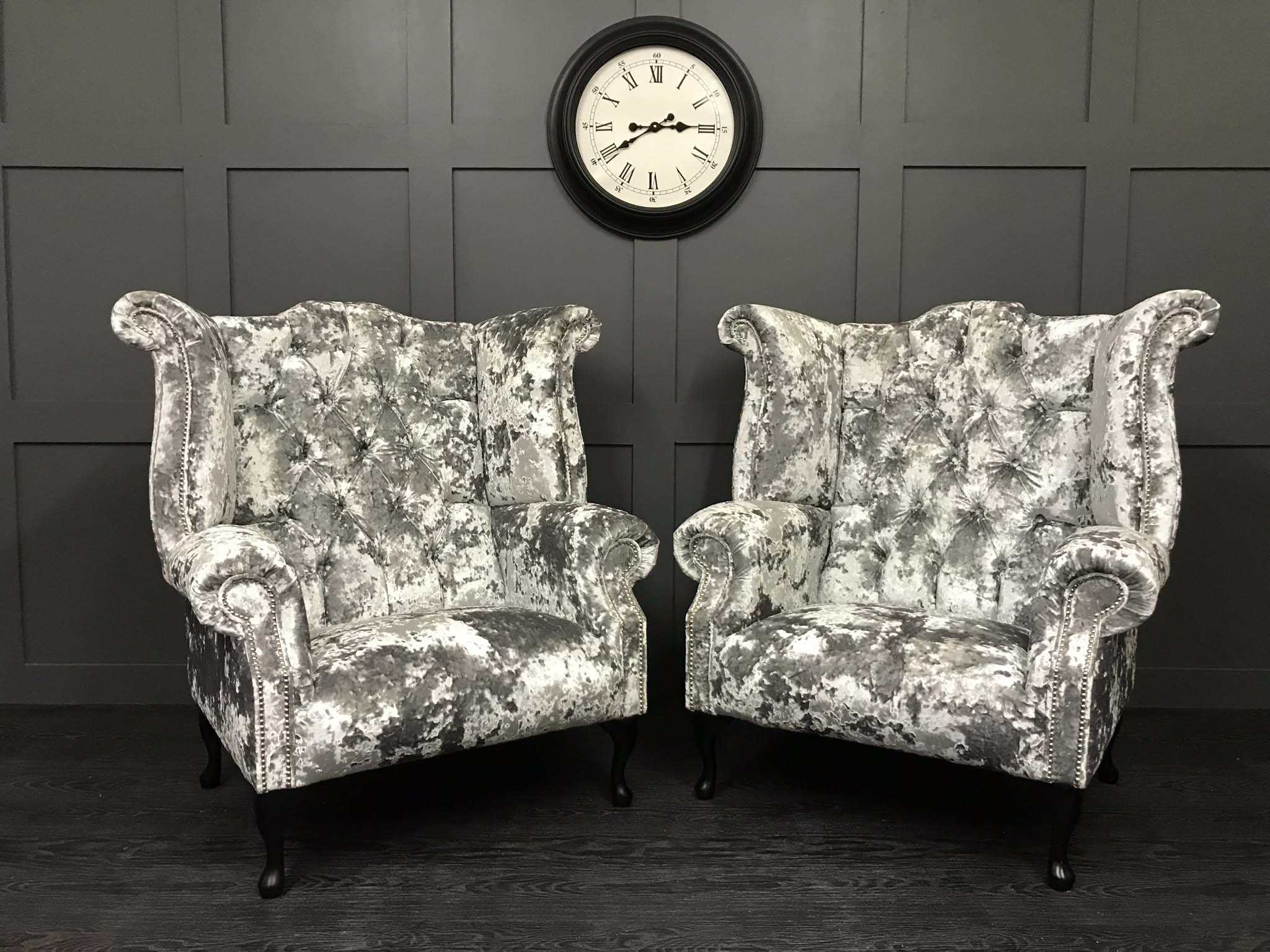 pair of lustro crushed velvet wing chairs