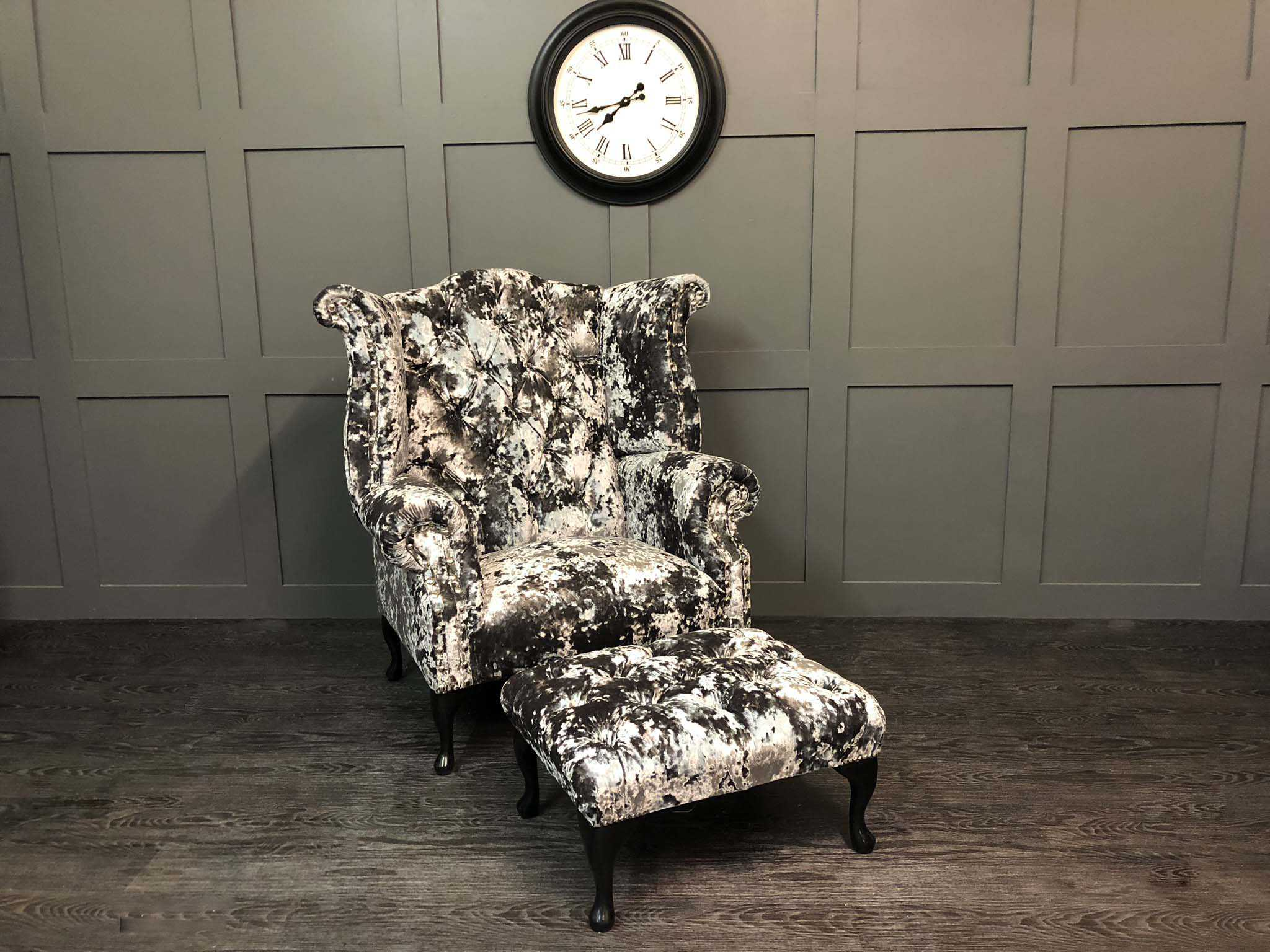 lustro crushed velvet wing chair and stool