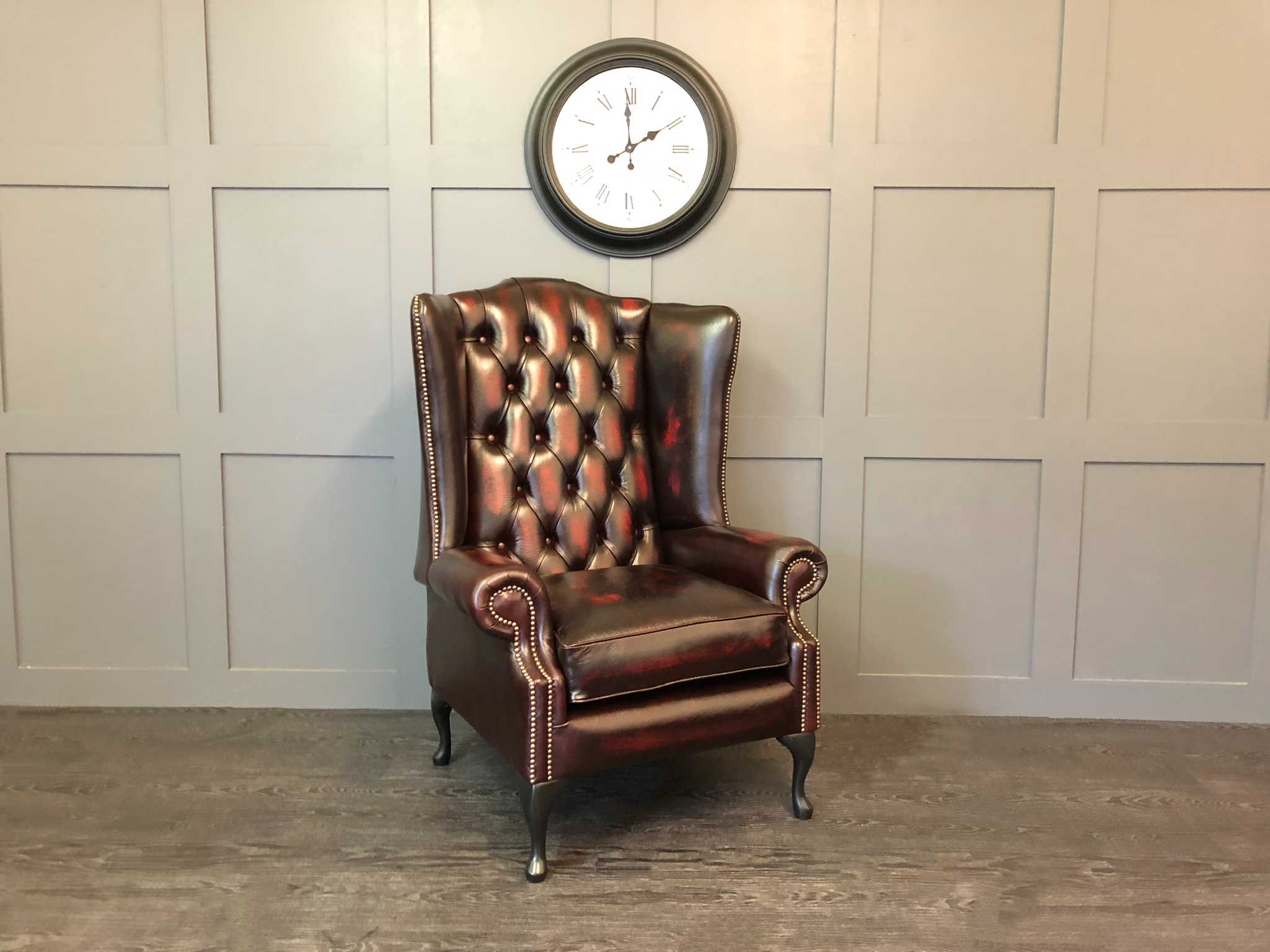 oxblood oakley wing chair