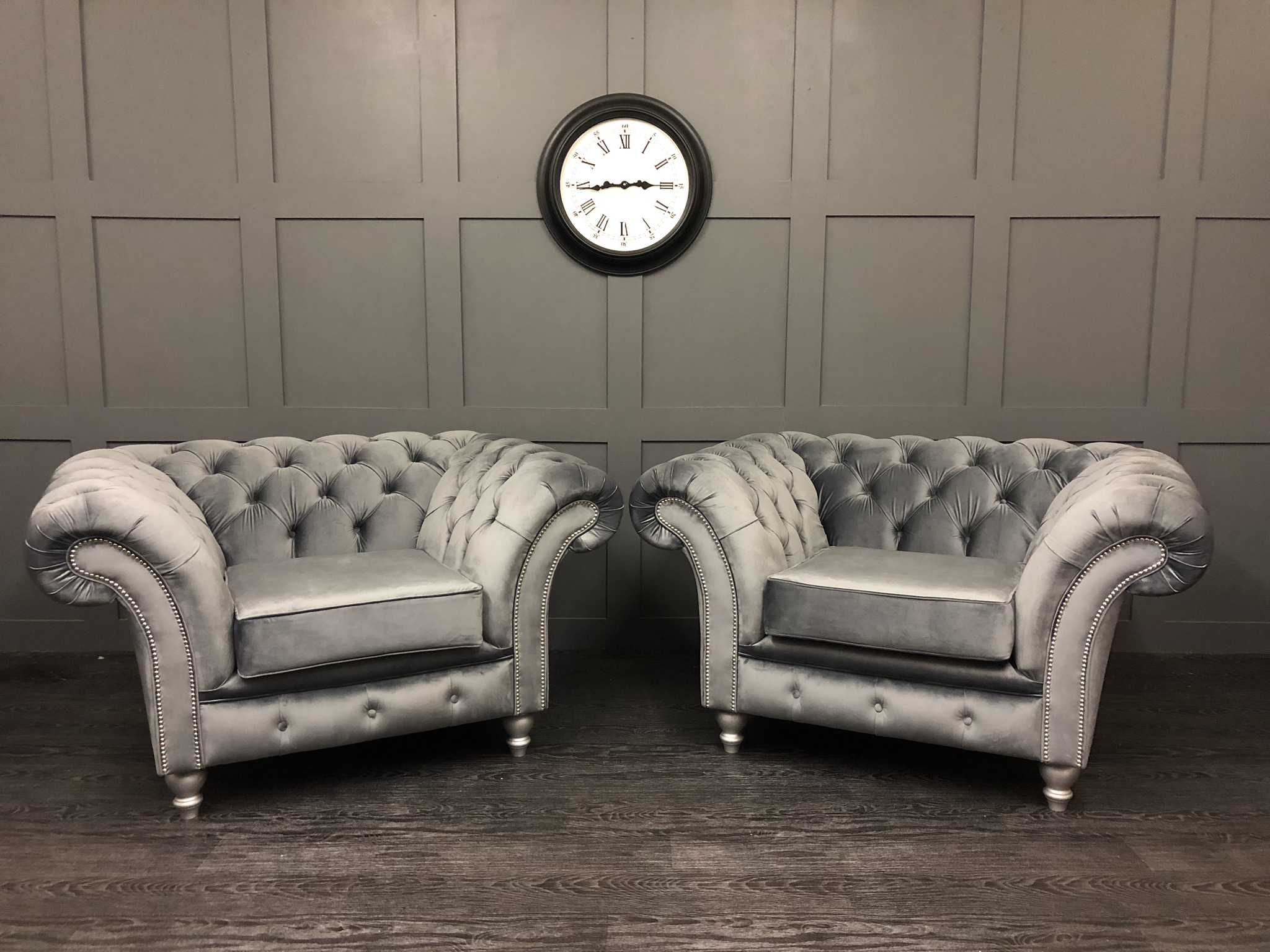 Pair of cambio steel london chairs