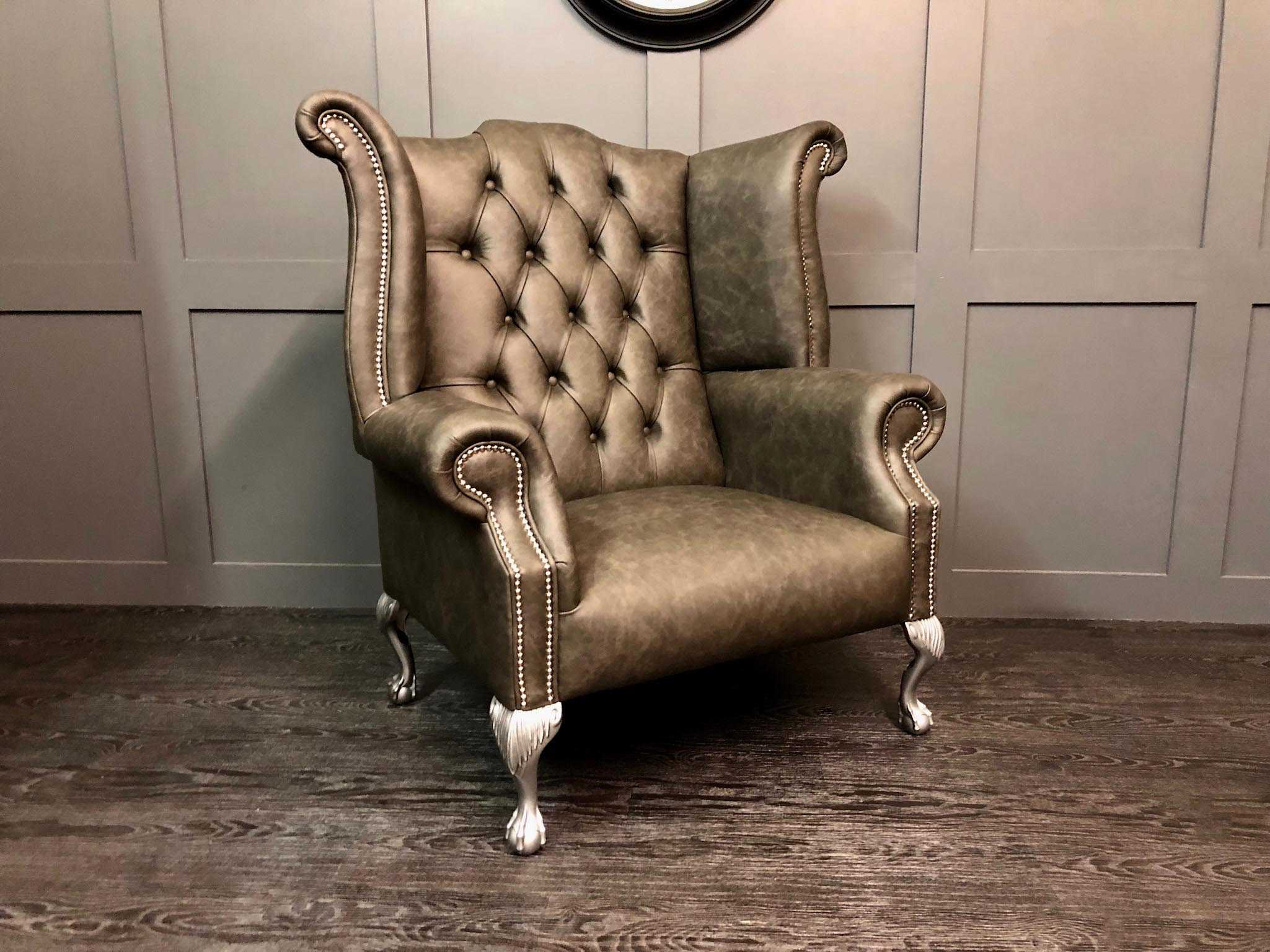 apache pewter wing back chair