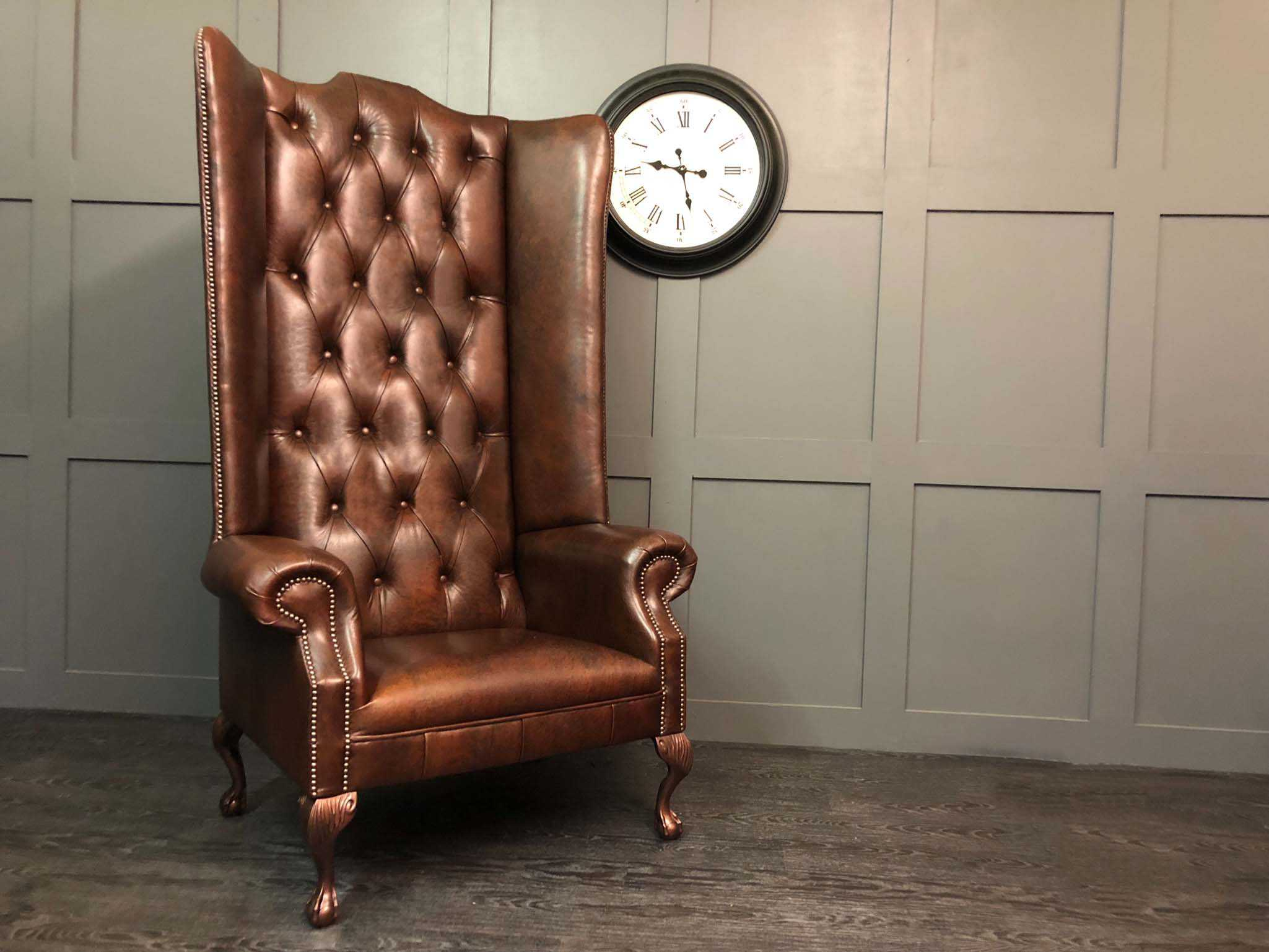 6 foot authentic mahogany wing chair