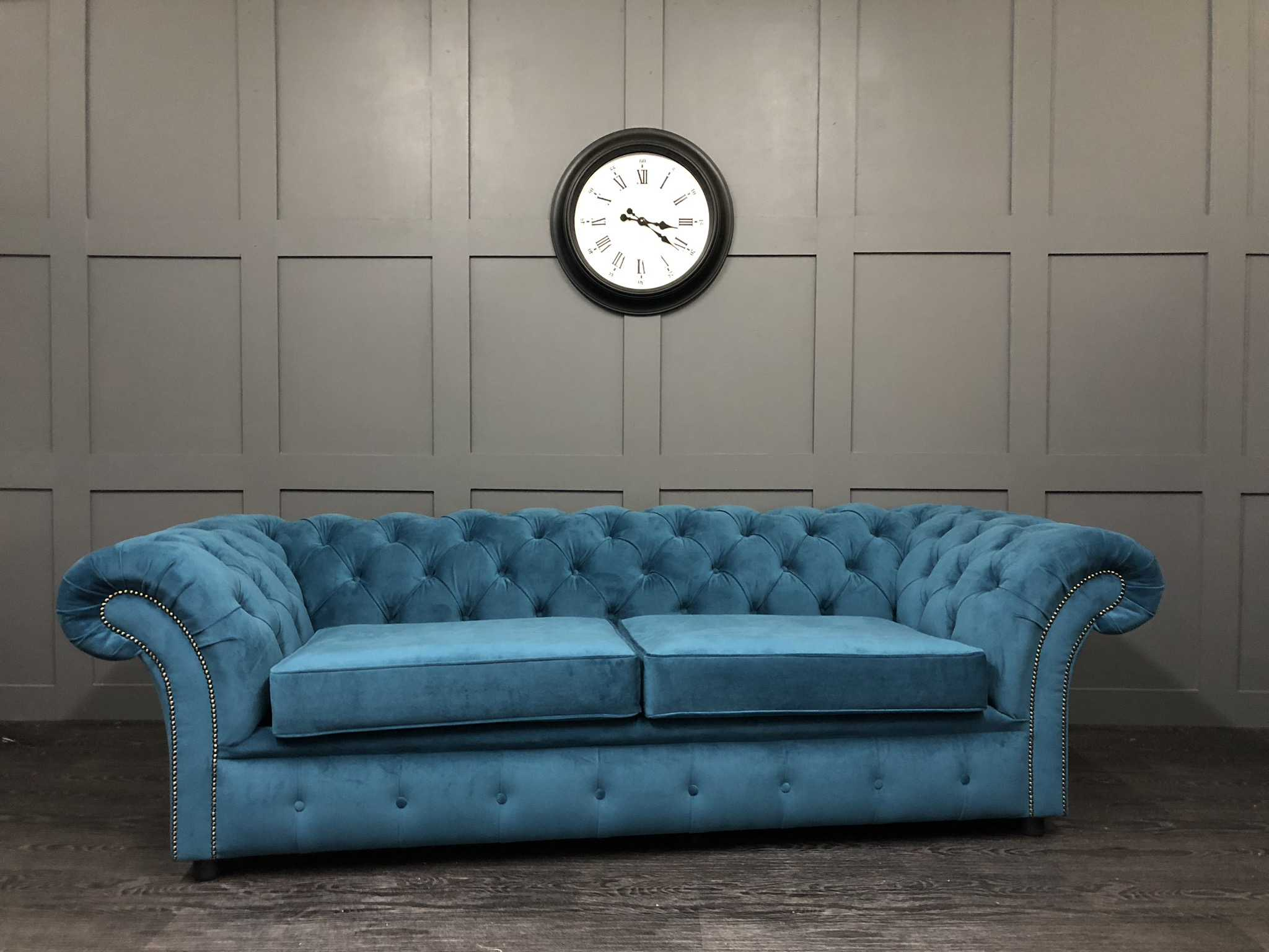 London chesterfield sofa bed in warwick plush velvet mallard