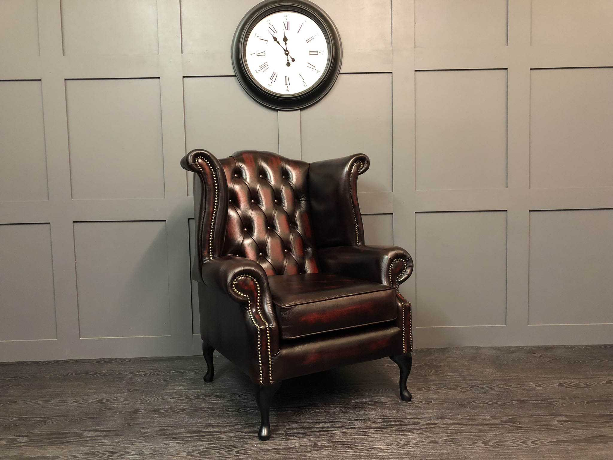 Kent wing chair antique oxblood leather
