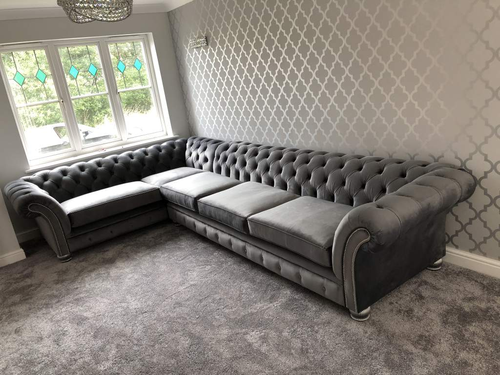 London Chesterfield Corner Suite Cambio Steel Plush Velvet Bespoke Made to measure