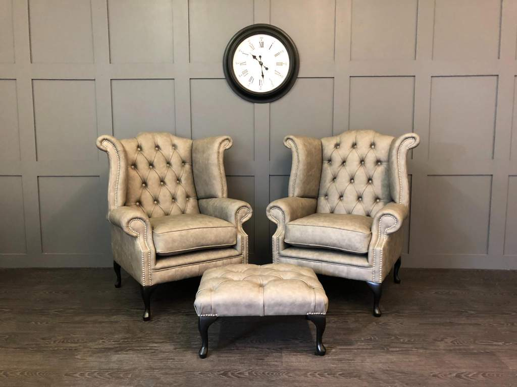 pair of kent apache light grey chesterfield wing chairs