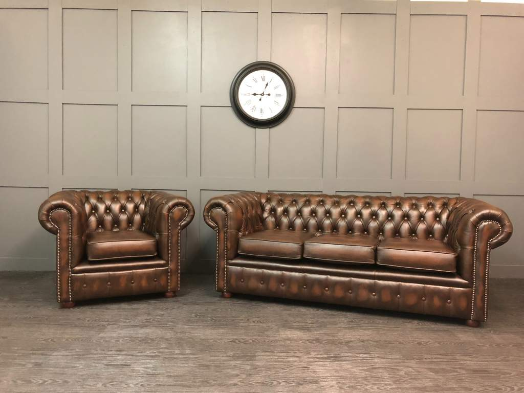 Antique brown chesterfield sofa & chair